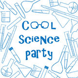 Background with chemical glassware for cool science party poster Stock Photo
