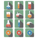 Background with chemical ware icons. Vector background with chemical laboratory Royalty Free Stock Images