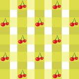 Background with cherries. Striped background with red cherries Royalty Free Stock Image