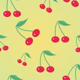 Background with cherry. Seamless background with cherry on yellow Stock Photography