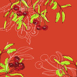 Background with cherry. Universal template for greeting card, web page, background Stock Images