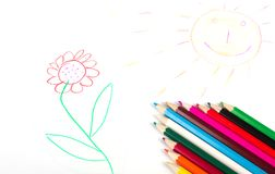 Background with child's drawing Stock Photo