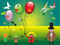 Background with children. Abstract colored illustration with children, colored small balloons, butterflies and sun beams Royalty Free Stock Photography