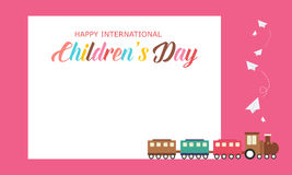 Background children day cute style with train. Vector illustration Stock Photography