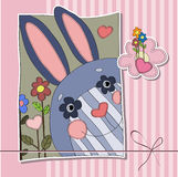 Background for children with hare, flowers and hearts. Funny Bunny striped muzzle on striped background Stock Photos