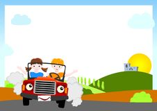 Background with children in red car Royalty Free Stock Image