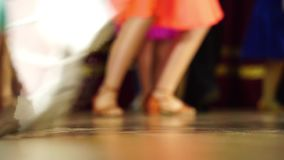 Background - children`s tournament on ballroom dances - feet on the floor stock footage