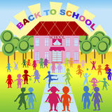 Background with children and school Royalty Free Stock Image