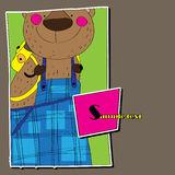 Background for children to bear. Vector. Background for children to bear. Bear with a yellow backpack. Vector Stock Photo