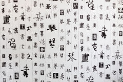 The background of Chinese Calligraphy. Chinese calligraphy, the local wallpaper,Can be used as the background.There are four kinds of Chinese characters in the Royalty Free Stock Photo