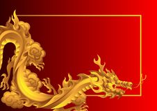 Background with Chinese dragons. Traditional China symbol. Asian mythological golden animals vector illustration