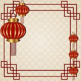 Chinese new year. Background for 2018 Chinese new year. Vector illustration. Greating card decorated with Chinese lantern Stock Illustration
