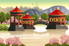 Background of Chinese temples Stock Photo
