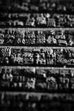 Background of Chinese wooden symbols. Collection of old Chinese wooden typescript letters Stock Image