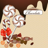 Background with chocolate. Candy and ribbon vector illustration
