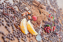 Background of chocolate bar, cup of coffee, hazelnuts, for holiday Stock Photography