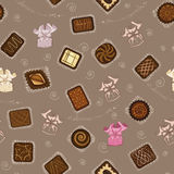 Background with chocolate candies. Seamless pattern with chocolate candies in paper wrapping. Vector illustration Royalty Free Stock Images
