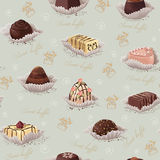 Background with chocolate candies. Vector seamless pattern with chocolate candies Royalty Free Stock Photography