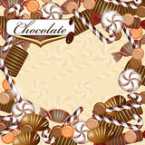 Background with chocolate candy. And drops stock illustration