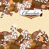 Background with chocolate candy. And drops vector illustration