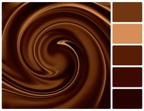 Background of chocolate with palette color swatches Stock Photos