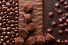 Background of chocolate and sweets Stock Images