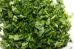 Background of chopped parsley. macro. Photos in the studio Stock Image
