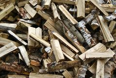The background - a chaotic pile of firewood stock photography