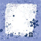 Background for Christmas. Border with Christmas ornaments and snowflakes Royalty Free Stock Photo