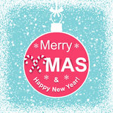 Background with Christmas ball and congratulations Royalty Free Stock Photos