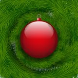Background Christmas ball and spruce tree Stock Images