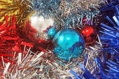 Background with christmas ball and tinsel Royalty Free Stock Photography