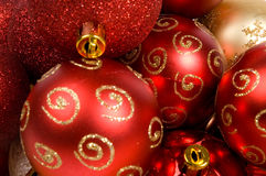 Background of christmas balls. Background of red and golden christmas balls royalty free stock photos