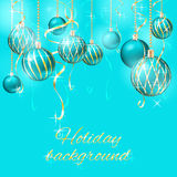 Background with christmas balls. Blue background with christmas balls vector illustration