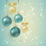 Background with Christmas balls and bow. New Year card. Background with Christmas balls and bow Stock Photo