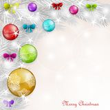 Background with Christmas balls. And bows Royalty Free Stock Photo