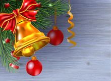 Background from Christmas balls are hanging a branch tree on woo. Background from Christmas balls  are hanging a branch tree on wood Royalty Free Stock Image