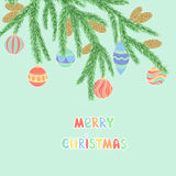 Background with Christmas Balls Hanging on a Christmas tree branch. Stock Photo