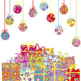 Background with Christmas balls and presents Stock Photos