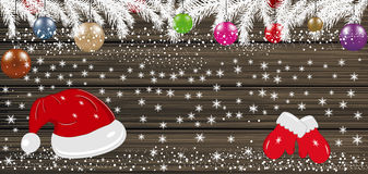 Background with Christmas balls, Santa hat and mittens. Vector. Illustration Stock Photos