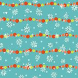 Background with christmas balls and snowflakes. Seamless festive pattern for winter holiday design. Modern xmas vector pattern for Royalty Free Stock Photos