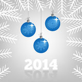 2014 background with Christmas balls and spruce br Stock Photos