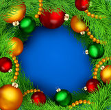 Background with Christmas balls and tree Stock Photography