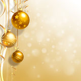 Background with Christmas baubles. And white snowflakes Stock Images