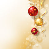 Background with Christmas baubles. And white snowflakes Stock Photos