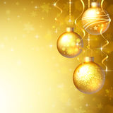 Background with Christmas baubles. And white snowflakes Royalty Free Stock Photography