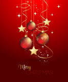 Background with Christmas baubles. Holiday Background with red Christmas baubles. Vector illustration Royalty Free Stock Photo
