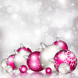 Background with Christmas baubles and snowflakes Stock Photo