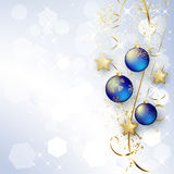 Background with Christmas baubles and snowflakes Royalty Free Stock Photography