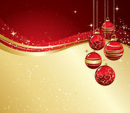 Background with Christmas baubles and snowflakes Royalty Free Stock Photos